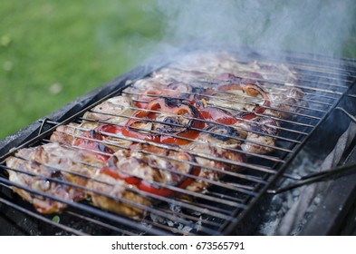 Meat and vegetables grilled on a grill on coals