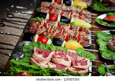 Meat and vegetables on skewers for a picnic
