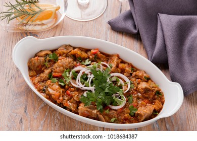 meat and vegetables in tomato sauce Georgian dish chashashuli
