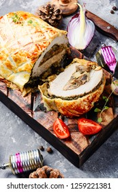 Meat Wellington - a festive dish of meat