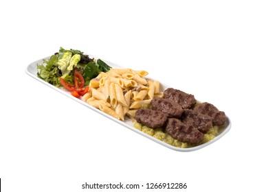 Meatball, macaroni, salad
