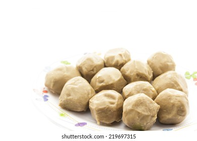 Meatball made from beef in plate on a white background.