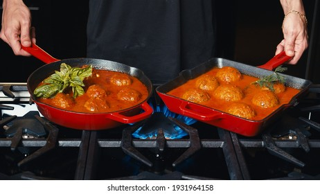 Meatball with tomato sauce in the iron cast for carnivores and vegetarians - Shutterstock ID 1931964158