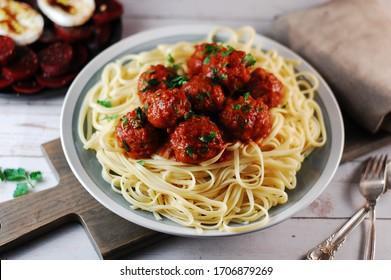 Meatballs with pasta, Italian dish, tasty food, homemade