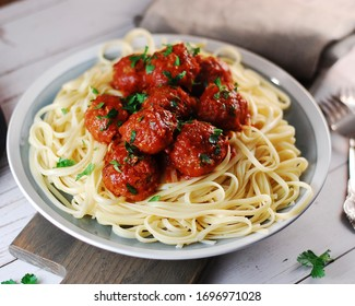 Meatballs with spaghetti in tomato sauce, lunch, dinner, meal, homemade