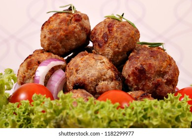 meatballs with tomatoes and salad homemade food