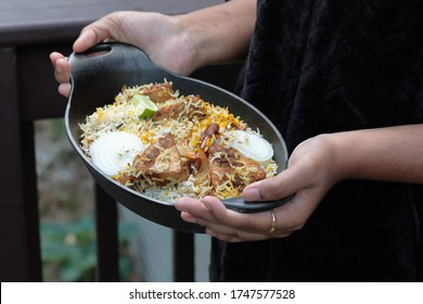 Meatless Biryani made of Jackfruit or Kathal, a delicacy for the vegetarian in a cast iron dish.
