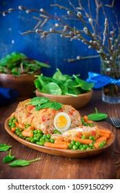 Meatloaf with boiled egg for Easter