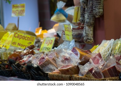meats and cheeses typical products Italian markets