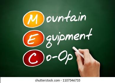 MEC - Mountain Equipment Co-Op acronym, concept on blackboard