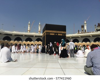 Mecca 25 November 2017 sitting nearest Kaaba and waiting for pray.