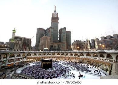 MECCA - DEC 13 : View from third floor of Haram Mosque where Muslim pilgrims circumambulate the kaaba Dec 13, 2017 in Mecca. Millions of muslims around the world come for umrah during this time.