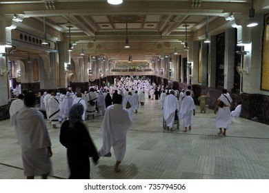 Mecca, KINGDOM OF SAUDI ARABIA, March 2 2017: Muslims inside Haram Mosque, DAYS OF HAJJ, safa and marwa