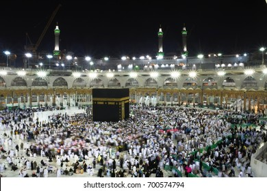 MECCA, SAUDI ARABIA, 07 March 2017 - Muslim pilgrims from all over the world gathered to perform Umrah or Hajj at the Haram Mosque at night.Pilgrims perform the Tawaf around the Kaaba of 7 times.