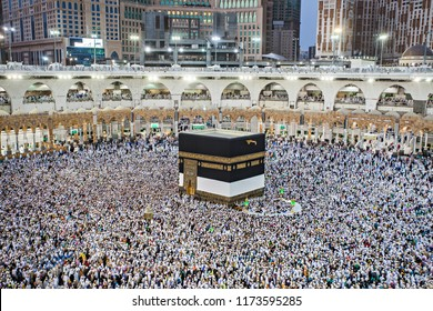 Mecca, Saudi Arabia (08/20/2018) : People from around the world together praying and doing tawaf/mataf as part of hajj rituals in front of Kabaa in Masjidil Haram.