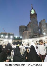 Mecca, Saudi Arabia :14/07 /2019 : Amazing image of Masjidil Haram with Blurry Kaabah featuring an Arabic boy at the tawaf floor, Masjidil Haram, Mecca, Saudi Arabia.