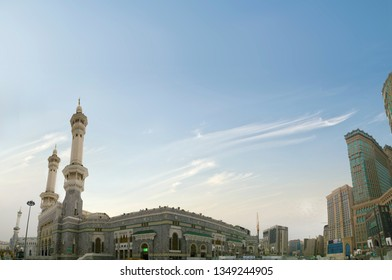 Mecca, Saudi Arabia - 15 March 2019 :  Panoramic view of Grand Mosque in Mecca from outside in morning