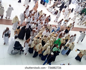 Mecca, Saudi Arabia - 21 August 2017, Crowd of pilgrims from around the world preparing Hajj event in Mecca, Saudi Arabia. Muslim people praying together at Holy place.