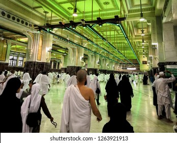 Mecca, Saudi Arabia - 21 December 2018; View of devotional act of walking seven times between the hills of Safa and Marwah which are located some distance from the Ka'ba, is called Sa'i.