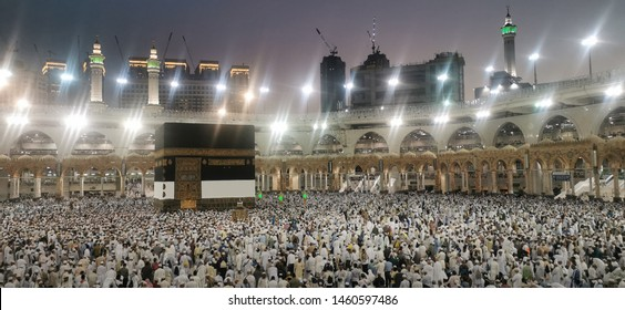 Mecca, Saudi Arabia : 24/07 /2019 : Pilgrims of Haj performing tawaf and praying at Masjidil Haram during Hajj Season 1440H.