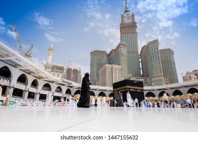 MECCA, SAUDI ARABIA - 29 July 2018: Muslim Pilgrims at The Kaaba in The Haram Mosque of Mecca , Saudi Arabia, In the morning during Hajj.