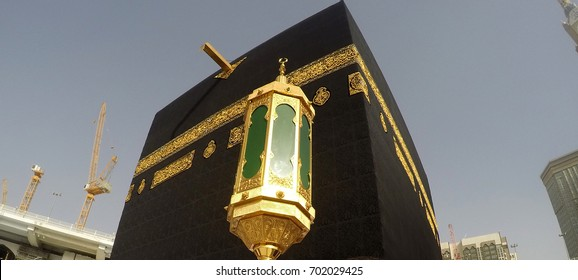 MECCA, SAUDI ARABIA, April 13 2017 - A close up view of Kaaba at Masjidil Haram Mosque Hijr Ismail / Hateem Lamp .View Near Corner of Iraq (North-East)