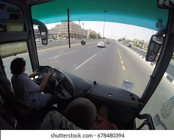 MECCA, SAUDI ARABIA - APRIL, 17 2017: The fish-eye view is inside buss.The bus driver took home the Pilgrim to Jeddah Airport to return home after completing the umrah in the Holy City of Makkah.