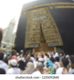Mecca, Saudi Arabia: April 2018 -  blur effect of kaabah.Muslims are directed to offer five times prayers on Qibla direction Makkah Al-Mukarramah
