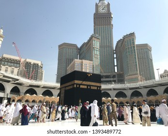 MECCA, SAUDI ARABIA - APRIL 9, 2019: Muslim pilgrims from all over the world performing tawaf at holy Kaabah