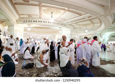 MECCA, SAUDI ARABIA - August 03 2018: A part of Marwa and Safa hills inside Masjid Al Haram is saved for people who do Sai traditional running when on Umra or Hajj