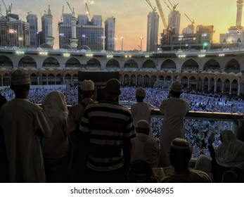 MECCA, SAUDI ARABIA - AUGUST 05 : A silhouette image of the kabe, Muslims watching Kaaba on the first floor in August 05, 2017 in Mecca Saudi Arabia. Kabe is the most sacred place for Muslims.