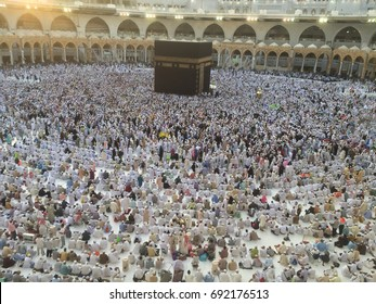 MECCA, SAUDI ARABIA - AUGUST 08 : Muslim pilgrims from all around the World preparing Hajj event this year on August 08, 2017 in Mecca Saudi Arabia. Muslim people praying together at holy place.