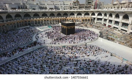 Mecca, Saudi Arabia, Circa December 2017 : People from around the world together praying and doing tawaf/mataf as part of hajj rituals in front of Kabaa in Masjidil Haram