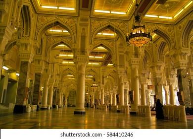 Mecca, Saudi Arabia - Circa July 2010 - Interior shot of the Great Mosque of Mecca aka Masjid al Haram