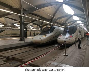 Mecca, Saudi Arabia - DEC 1, 2018: The Haramain HSR, also known as the Mecca–Medina high-speed railway, is a 453-kilometre-long high-speed inter-city rail transport system. It links Medina and Mecca
