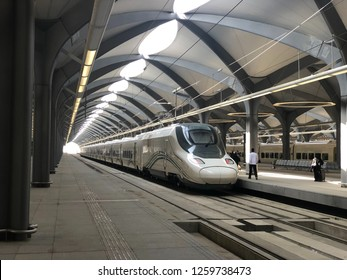 Mecca, Saudi Arabia - DEC 1, 2018: The Haramain HSR, also known as the Mecca–Medina high-speed railway, is a 453-kilometre-long high-speed inter-city rail transport system. It links Medina and Mecca
