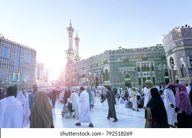 MECCA, SAUDI ARABIA - DEC 2017 : View of Masjidil Haram Mosque in Makkah City, Saudia Arabia during umrah season