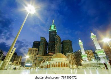 MECCA, SAUDI ARABIA: DEC13, 2017 Skyine with Abraj Al Bait (Royal Clock Tower Makkah) in Mecca, Saudi Arabia.