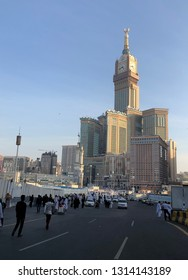 Mecca, Saudi Arabia - December, 18 2018: A shot of the clock tower in the heart of the holy city