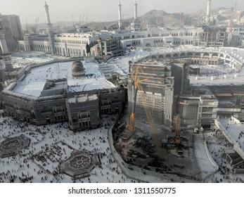 MECCA, SAUDI ARABIA - February 09, 2019: Tawaf is a ritual during Umra or Hajj when pilgrims making seven circles around The Holy Kaaba in Masjid Al Haram