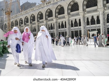 MECCA, SAUDI ARABIA - FEBRUARY 4: Muslim women walking on the road in the newly built Kaaba on February 4, 2015 in Mecca, Saudi Arabia.