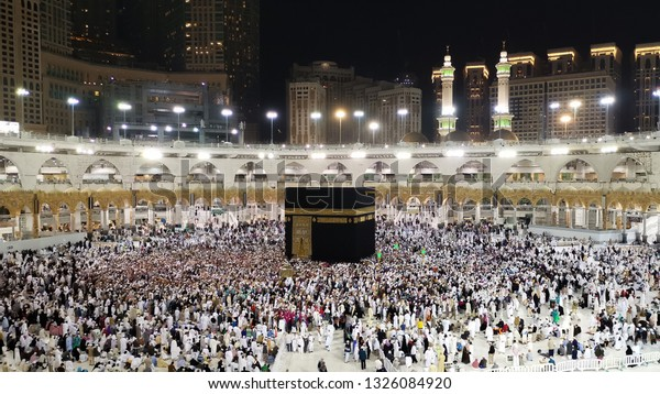 Mecca, Saudi Arabia February-24-2019: The Holy Kaaba in Masjid Al Haram.