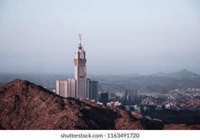 MECCA, SAUDI ARABIA - JAN 18, 2017: Skyline with Abraj Al Bait (Royal Clock Tower Makkah) in Makkah, Saudi Arabia. It is the world's tallest clock tower landscape