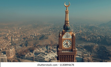 MECCA, SAUDI ARABIA - JAN 28, 2017: Skyline with Abraj Al Bait (Royal Clock Tower Makkah) in Makkah, Saudi Arabia. It is the world's tallest clock tower