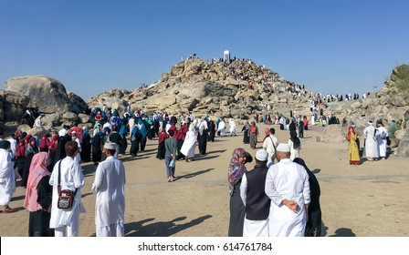 MECCA, SAUDI ARABIA - JAN 29: Muslims at Mount Arafat (or Jabal Rahmah) January 29, 2017 in Arafat, Saudi Arabia. This is the place where Adam and Eve met after being overthrown from heaven.