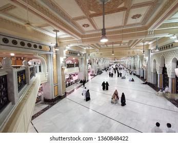 MECCA, SAUDI ARABIA - January 2, 2017: Pilgrims  perform Saee or saie  during Umra between Safa and Marwa Hills inside Masjidil Haram, Makkah