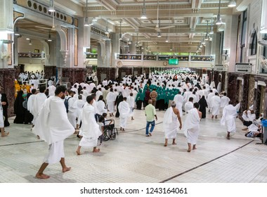 MECCA, SAUDI ARABIA - JANUARY 27: Muslim pilgrims perform saei (brisk walking) from Safa mount from Marwah mount on January 27 2017 in Mecca Saudi Arabia.