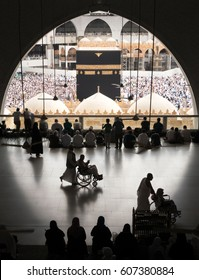 MECCA, SAUDI ARABIA - JANUARY 28: A silhouette image of the kabe, the Muslims who tavaf from the first flooron January 28, 2017 in Mecca Saudi Arabia. Kabe is the most sacred place for Muslims.