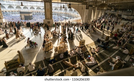 MECCA, SAUDI ARABIA - JANUARY 30: A silhouette image of the kabe, the Muslims who tavaf from the first flooron January 30, 2017 in Mecca Saudi Arabia. Kabe is the most sacred place for Muslims.