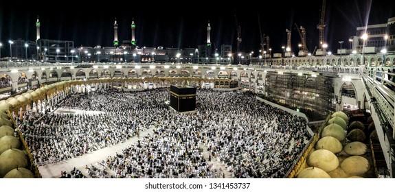 Mecca / Saudi Arabia - January 6 2019: Full view to Kaaba and Twaf area